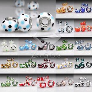 5 Muranoglas Perlen Lampwork Großlochperlen Charm European Beads Grün LB0097