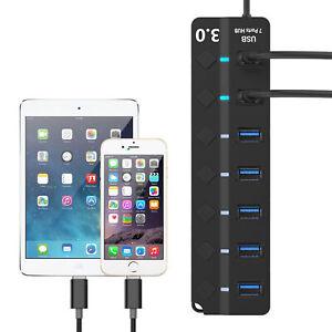 USB-3-0-Hub-5-Gbit-s-Hochgeschwindigkeits-Ein-Aus-Schalter-Netzteil-fuer-PC