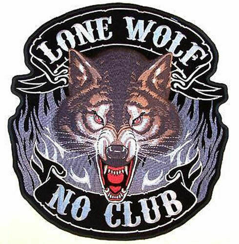 1 NEW JUMBO LONE WOLF NO CLUB JACKET BACK PATCH JBP44 new embroidered wolves