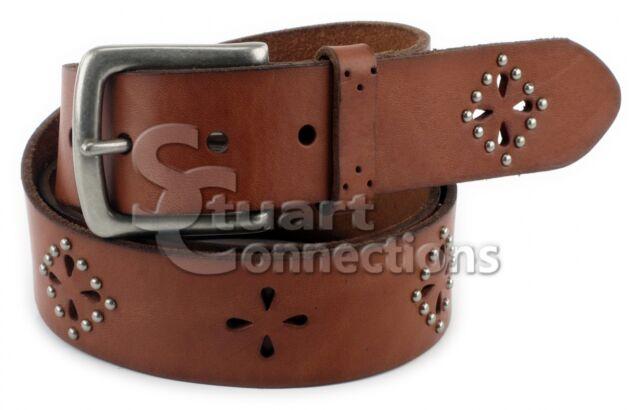 NEW Bass America Women's Brown Genuine Leather Cutout Studded Belt PW3400BA231