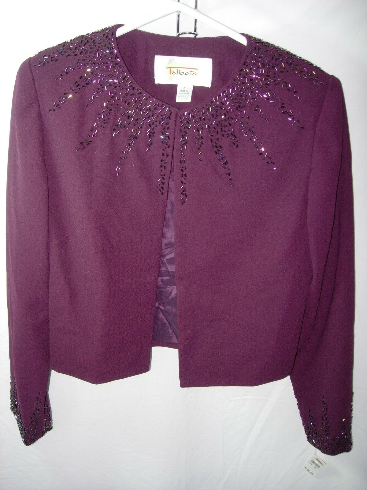 WOMENS NEW NWT PURPLE PLUM BEADED TALBOTS JACKET MOTHER OF THE BRIDE SIZE 6 38