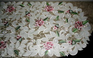 "Dresser Scarf Royal Rose Lace Table Runner  43""  Doily  Floral  Flower"