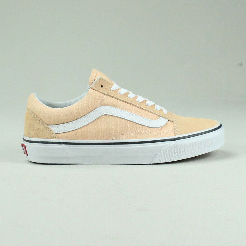 Vans Old Skool Trainers Schuhes Bleached Apricot/WEISS in UK Größe 4,5,6,7,8