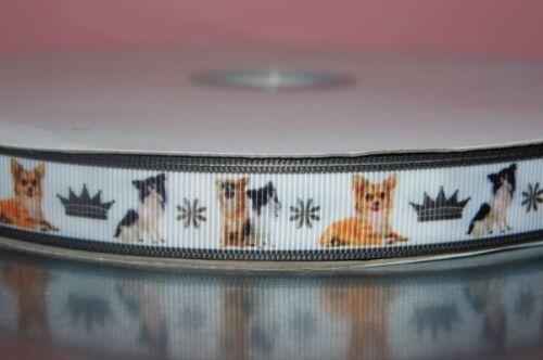 2230 Chihuahua//Krone auf weiß 15mm Breite Eigenproduktion Ripsband