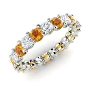 2.54 Ct Citrine Round Diamond Wedding Eternity Band 925 Sterling Silver Size 5 6
