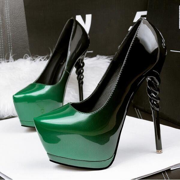 Decolte donna plateau alti raffinati 14 cm plateau donna stiletto verde nero simil pelle CW038 f02038