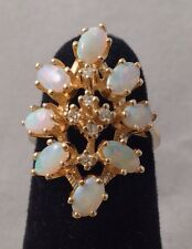Jelly Opal & Diamond Accent 14K Yellow Gold Ring Size 4