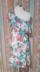 Everly-Anthropologie-Medium-One-Shoulder-Ruffle-Dress-Elastic-Waist-Floral-Lined