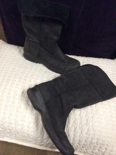 Keen Black Leather Boots Fold Cuff Womens Sz 9  Bo