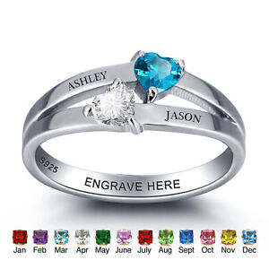 Image Is Loading Personalized Gifts March Birthstone Rings Custom Engraved Name
