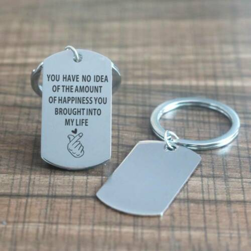 Stainless Steel Keyring Keychains Phone Bag Ornaments Words Pendant Key Chain ON