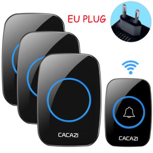 CACAZI 100-240V Wireless Doorbell Waterproof 300M Range Door Bell 38 Songs Ring