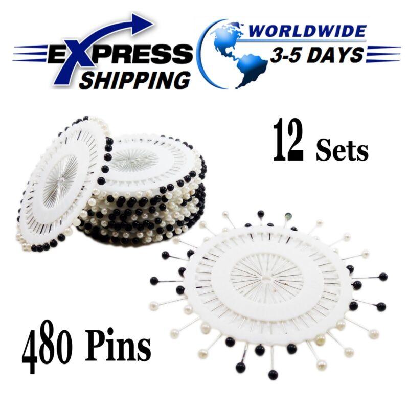 12 Sets Stifte Runde Form Schwarz & Weiß Kopftuch Hijab Handwerk Nähen 480 Pcs