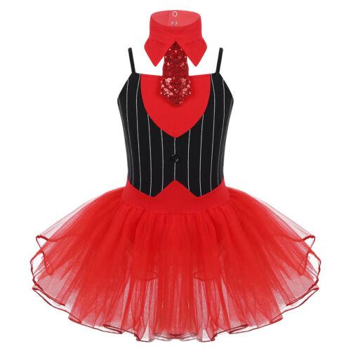 Girls Kids Sparkly Ballet Leotard Dance Dress Skating Dancewear Fancy Costume