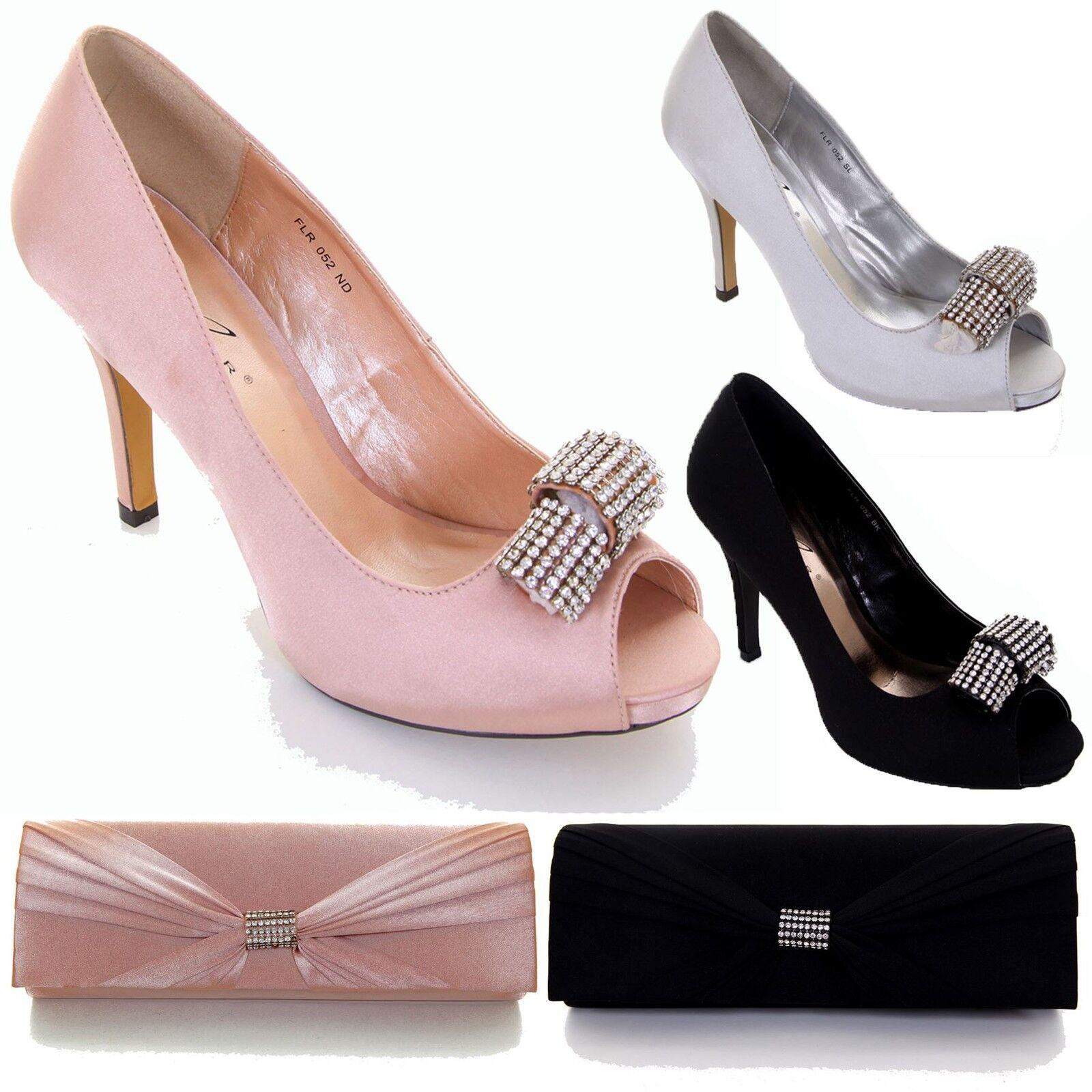 Ladies Peep Toe Satin Diamante Accent Court Heel Shoe Party Clutch Bag Purse