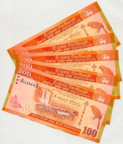SRI LANKA 100 RUPEES 2015 P 125 NEW SIGN DATE UNC LOT 10 PCS