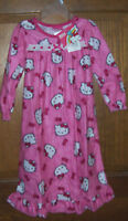 Hello Kitty Pink Long Flannel Granny Nightgown Little Girls Size 4 $32