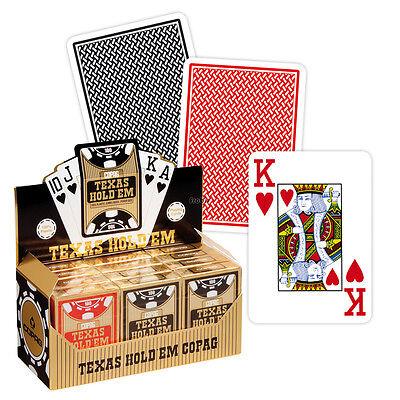 12 Copag Texas Holdem Plastik Pokerkarten Jumbo Face Rot/Schwarz, 2 Pips, Frobis