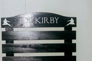 CUSTOM BLACK PAINTED KARATE BELT DISPLAY RACK 7 SLATS