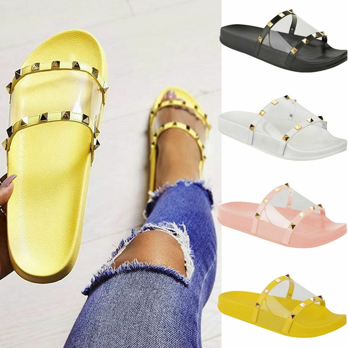 Womens Flat Summer Slip On Sandals Slides Summer Flat Studded Mules Perspex Sliders Holiday 7f3748