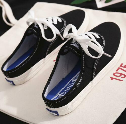 Womens Girls Casual Backless Canvas Sneakers Flat Slip On Plimsolls Pumps Shoes