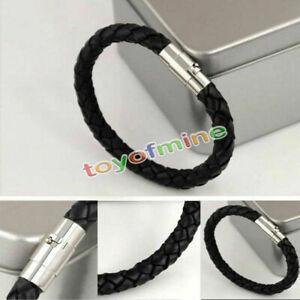 Herren-Lederarmband-geflochten-Edelstahl-Armband-Magnetverschluss-Surferarmband