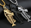 Fish Bone Whole Fish Skeleton Stainless Steel Pendant Necklace Gold Black Silver