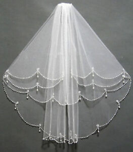 White-Ivory-2T-Shoulder-Length-Wedding-Bridal-Veil-with-Beading-Pearls-Comb