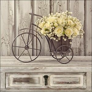 Dettagli Su Quadro Su Tela Shabby Chic Bicicletta Con Rose Gialle Yellow Roses 2 Misure