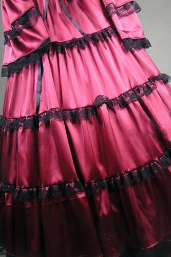 Red Satin Long Sleeves Lace Cosplay Lolita Fancy Dress Costume Custom Made