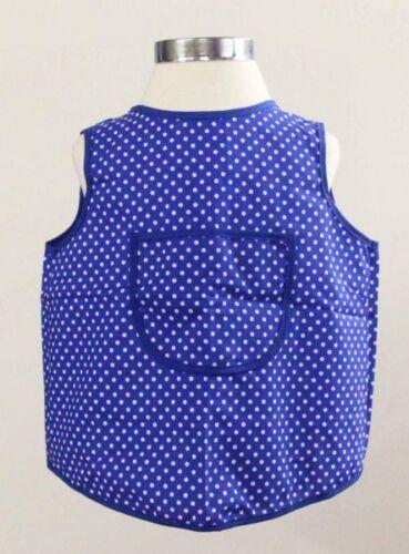 Kinderschürze Baumwolle Malschürze Backen Essen blau weiße Punkte