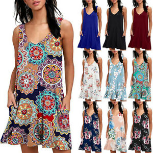 Women-Ladies-Boho-Sleeveless-Mini-Dress-Summer-Beach-Baggy-Tunic-Dress-Plus-Size