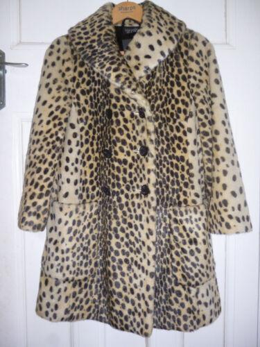 Bnwt 6 Ladies Animal Topshop Size Uk Womens Fur Jacket Leopard 8 Coat Faux Print gwBrgHq