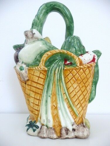 "PITCHER JUG CHEVRETTE ""BASKET OF VEGETABLES"" CERAMIC"