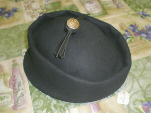 Vintage-NOS-Henry-Pollak-NY-Supra-Felt-Black-100-Wool-Hat-w-Anchor-Button