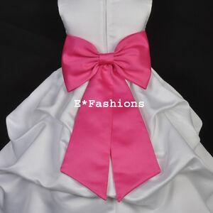 BURGUNDY RED TIE BOW SASH 4 WEDDING FLOWER GIRL DRESS sz S M L 2 4 6 8 10 12 14