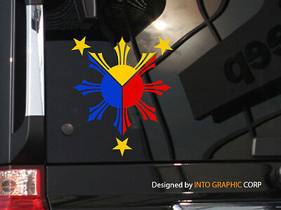 "Filipino Vinyl Car Decal Sticker  5"" (H)  w/  Philippine Flag theme 3 colors"