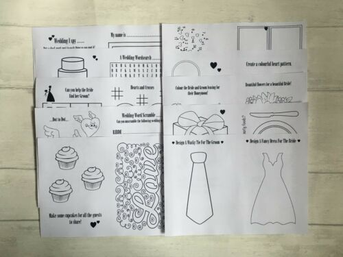 with pencil Favour Childrens Kids Personalised A6 Wedding Activity Pack Book