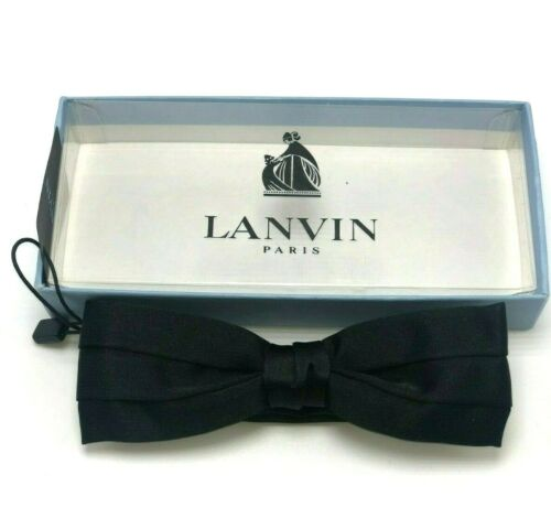 $140 LANVIN PARIS Bristol Classic Bow Tie Black New