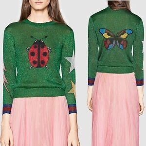 Designer Jumper Lady Bird Dames Knitwear Runway geborduurd patroon geïnspireerd UFSd6w