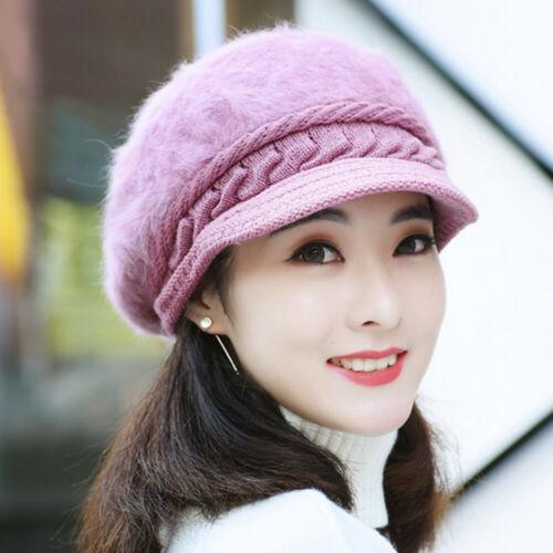 Women Hat Winter Warm Real Rabbit Fur Newsboy Beanies Hand Knitting Snow Cap New