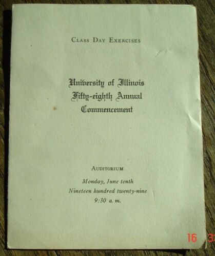 1929 58th annual Commencement UNIVERSITY OF ILLINOIS Class Day Exercises program