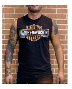 Harley-Davidson-Men-039-s-Antique-Black-B-amp-S-Dealer-T-Shirt-Vest-Preston-England