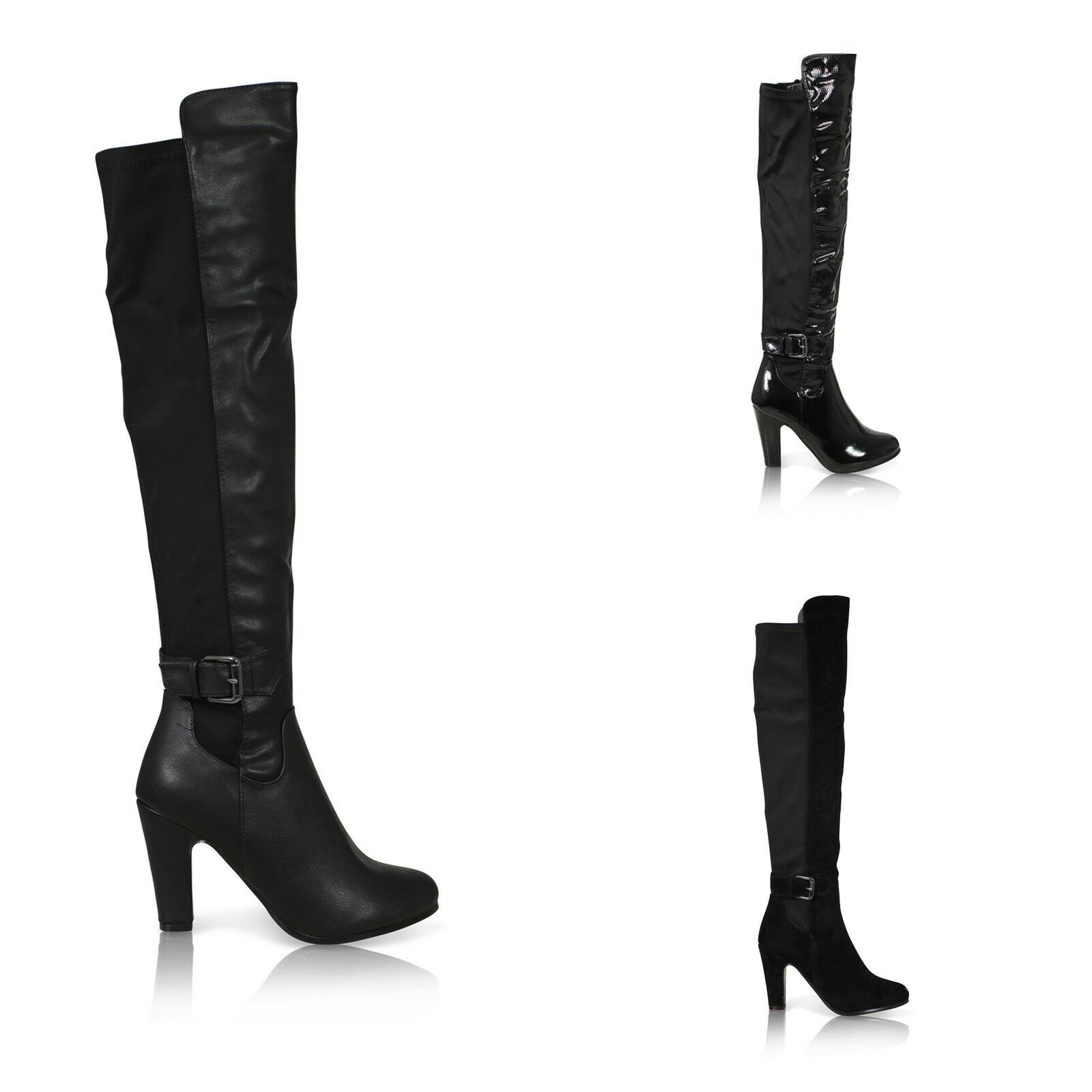 WOMENS LADIES ZIP UP OVER THE KNEE STRETCH RIDING BUCKLE HIGH HEEL BOOTS SHOES S