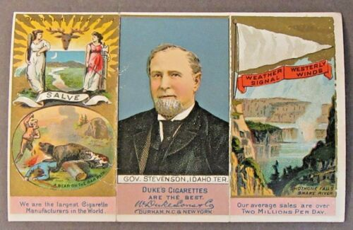 IDAHO TER. 1888 Duke N133 State & Territorial Governors tobacco card trifold
