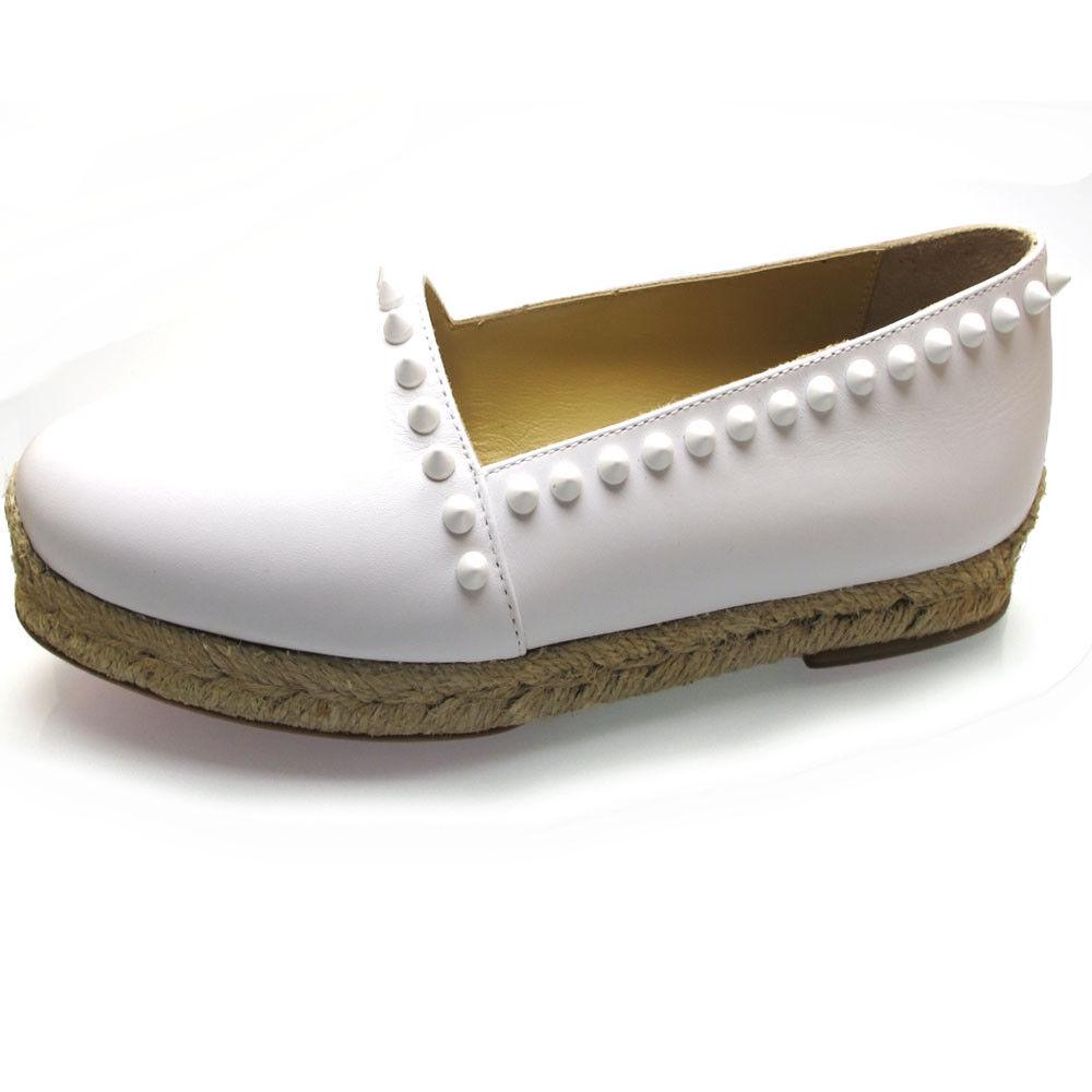 Christian Louboutin     Ares blanco Leather Spike Espadrille Ballet T35, US5, UK2  Tienda de moda y compras online.