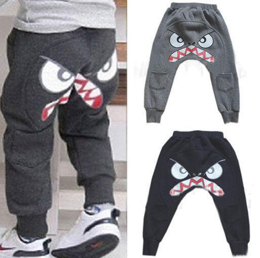 Kids Toddler Boys Clothes Cartoon Pure Color Harem Pants Trousers Slacks Sz 2-7Y