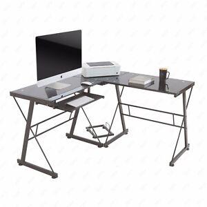 corner l shape computer desk pc glass laptop table workstation home office black ebay. Black Bedroom Furniture Sets. Home Design Ideas