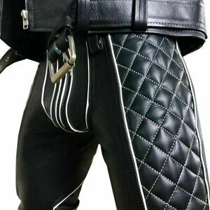 Pantalones-de-Hombre-de-Cuero-Negro-Con-Blanco-Tuberia-Motocicleta-Pantalones-Gay-Original