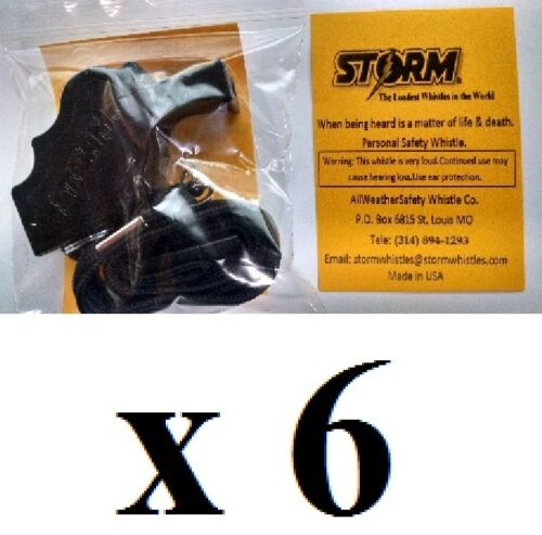 Pack of 6 STORM Whistle BLACK with BREAKAWAY LANYARD